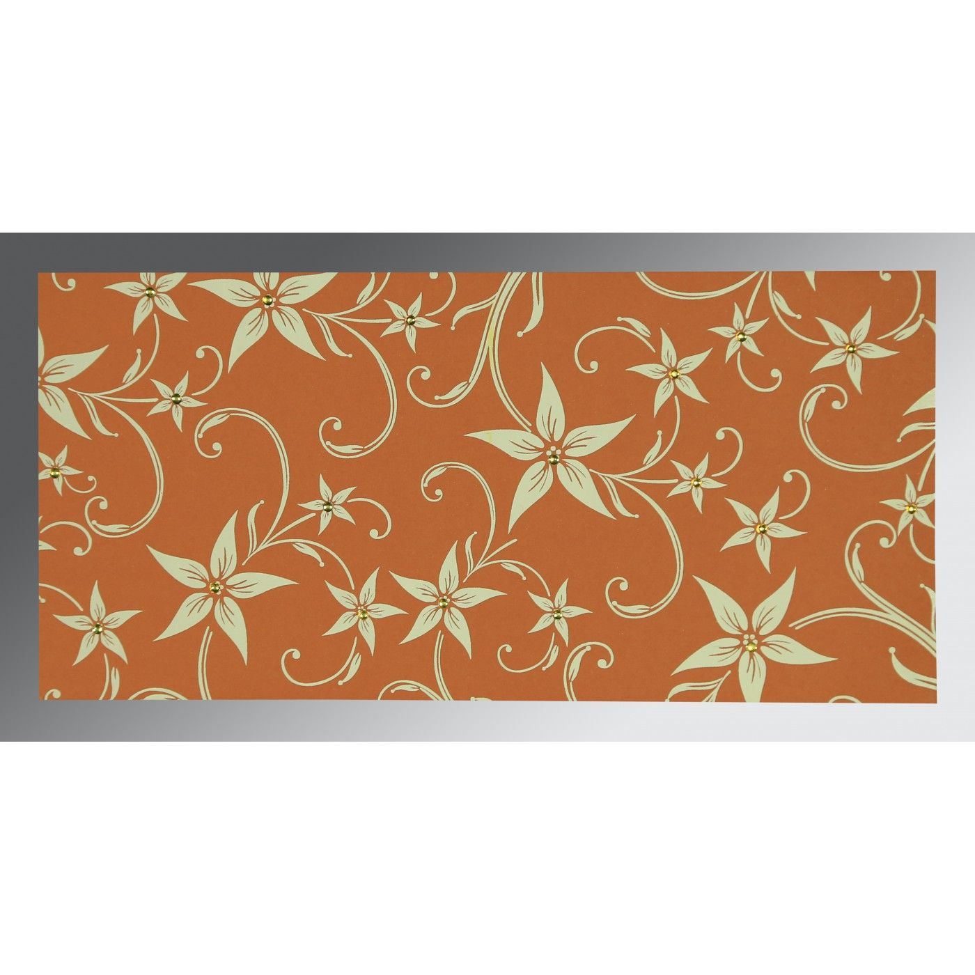 BURNT ORANGE MATTE FLORAL THEMED - SCREEN PRINTED WEDDING INVITATION : CSO-8225J - IndianWeddingCards