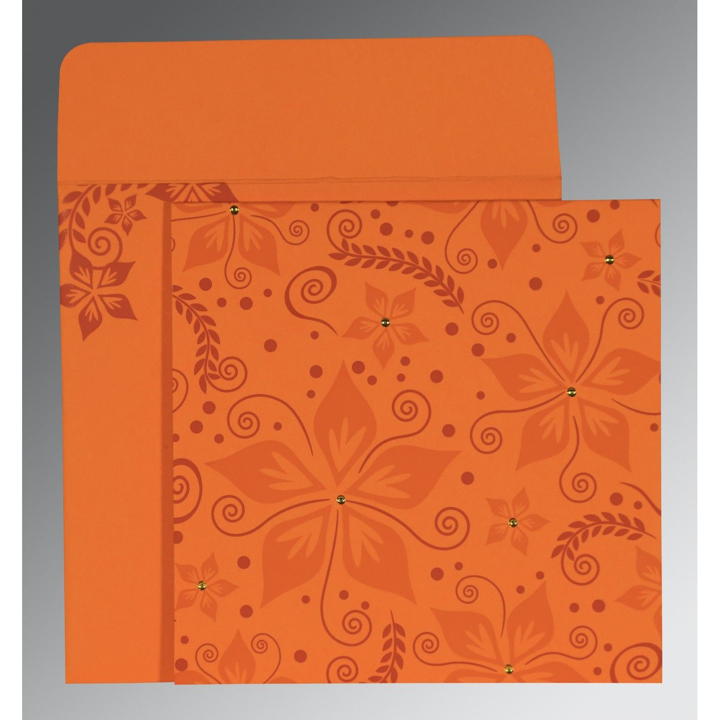BURNT ORANGE MATTE FLORAL THEMED - SCREEN PRINTED WEDDING INVITATION : CSO-8240K - IndianWeddingCards