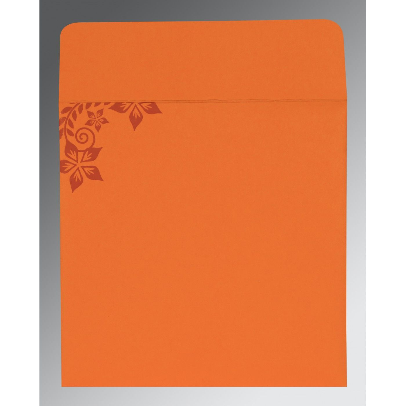 BURNT ORANGE MATTE FLORAL THEMED - SCREEN PRINTED WEDDING INVITATION : CW-8240K - IndianWeddingCards