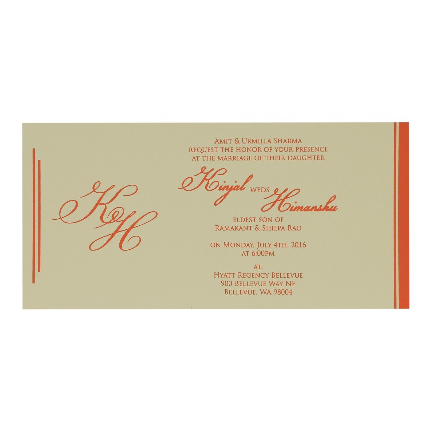 VIVID ORANGE MATTE FLORAL THEMED - SCREEN PRINTED WEDDING CARD : CW-8259D - IndianWeddingCards