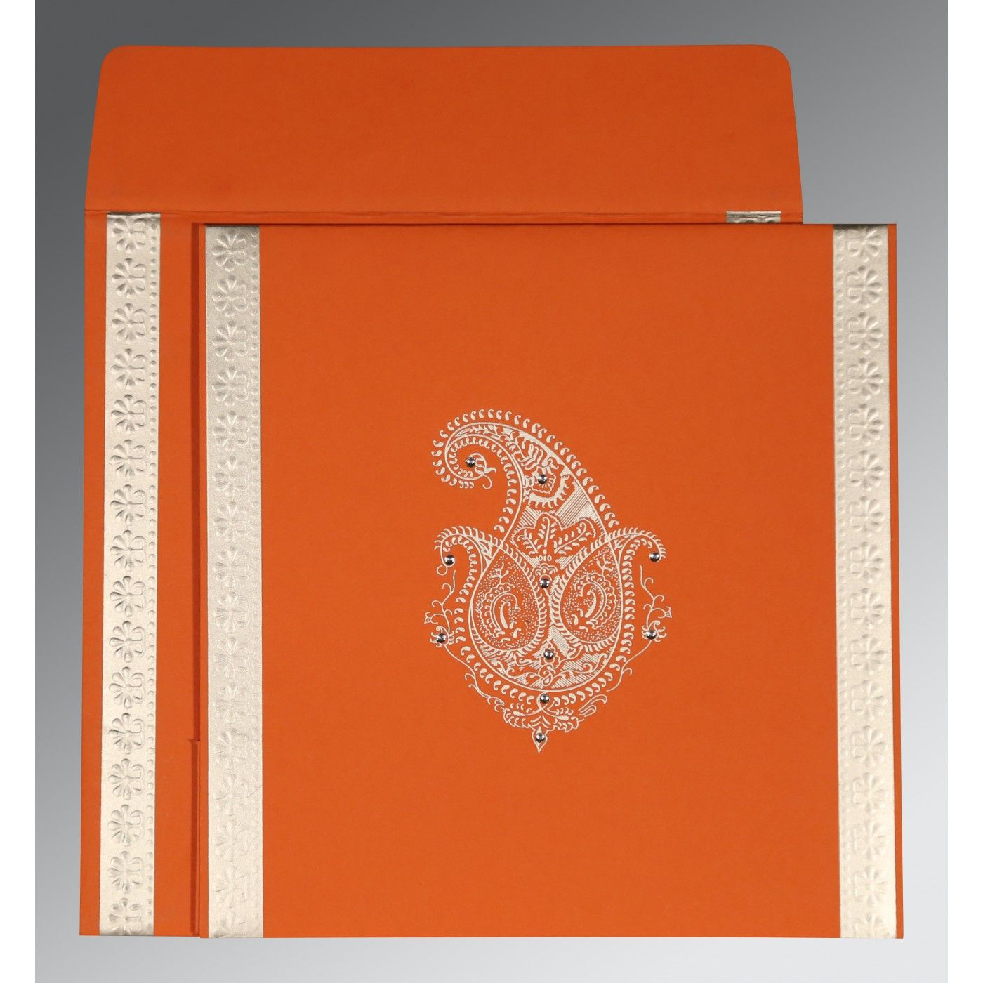 BURNT ORANGE MATTE PAISLEY THEMED - EMBOSSED WEDDING INVITATION : CD-8231M - IndianWeddingCards