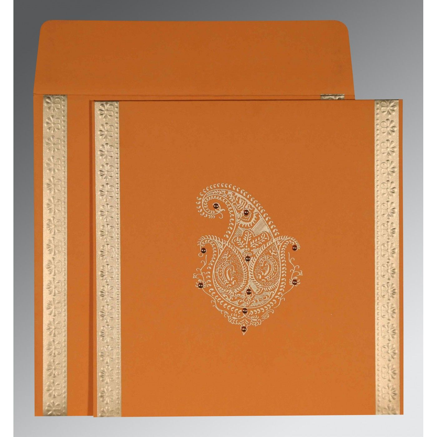 ORANGE MATTE PAISLEY THEMED - EMBOSSED WEDDING INVITATION : CD-8231N - IndianWeddingCards