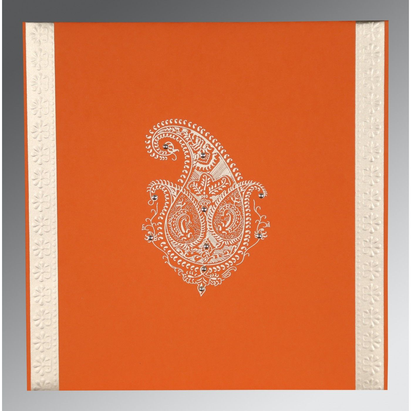 BURNT ORANGE MATTE PAISLEY THEMED - EMBOSSED WEDDING INVITATION : CG-8231M - IndianWeddingCards
