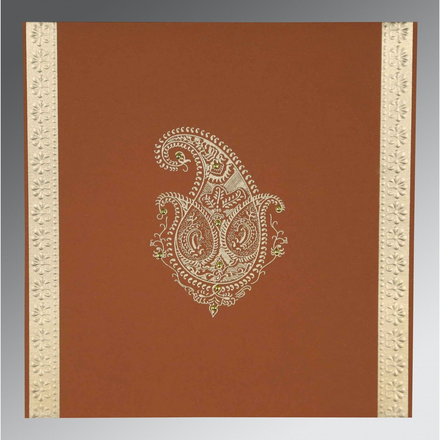 VESUVIUS ORANGE MATTE PAISLEY THEMED - EMBOSSED WEDDING INVITATION : CS-8231H - IndianWeddingCards