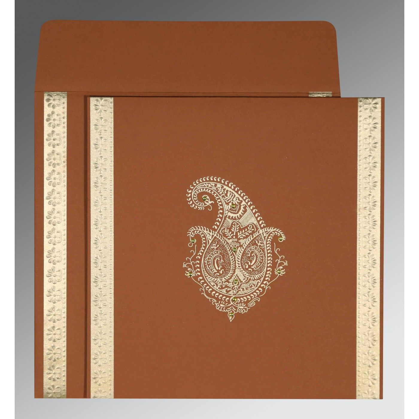 VESUVIUS ORANGE MATTE PAISLEY THEMED - EMBOSSED WEDDING INVITATION : CSO-8231H - IndianWeddingCards