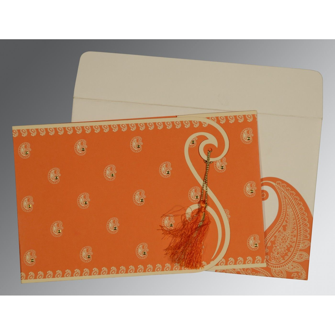 ORANGE MATTE PAISLEY THEMED - SCREEN PRINTED WEDDING INVITATION : CD-8252D - IndianWeddingCards
