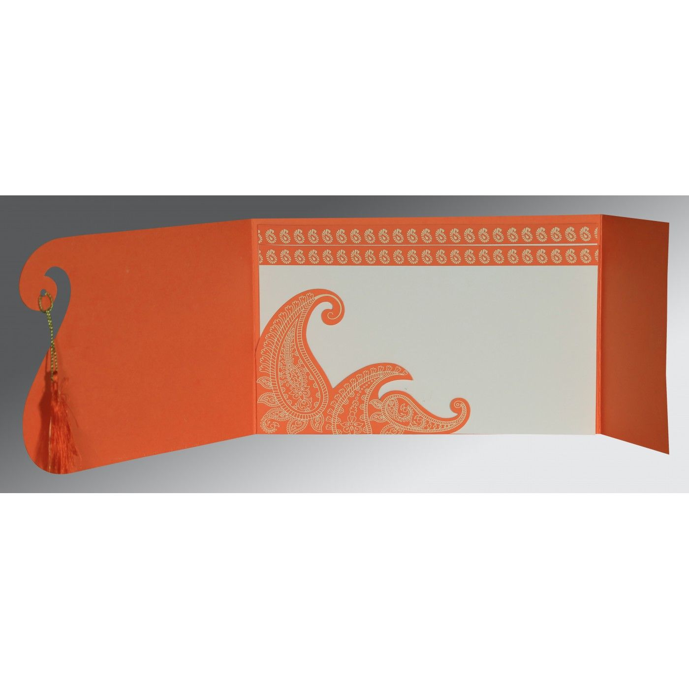 ORANGE MATTE PAISLEY THEMED - SCREEN PRINTED WEDDING INVITATION : CIN-8252D - IndianWeddingCards