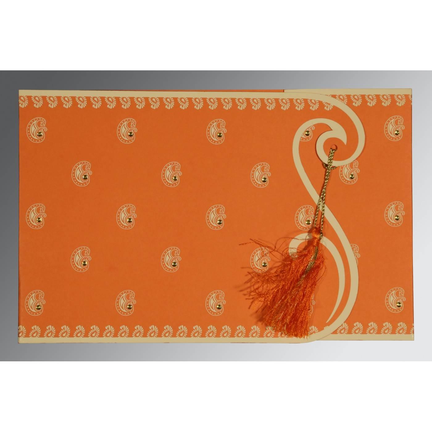 ORANGE MATTE PAISLEY THEMED - SCREEN PRINTED WEDDING INVITATION : CRU-8252D - IndianWeddingCards