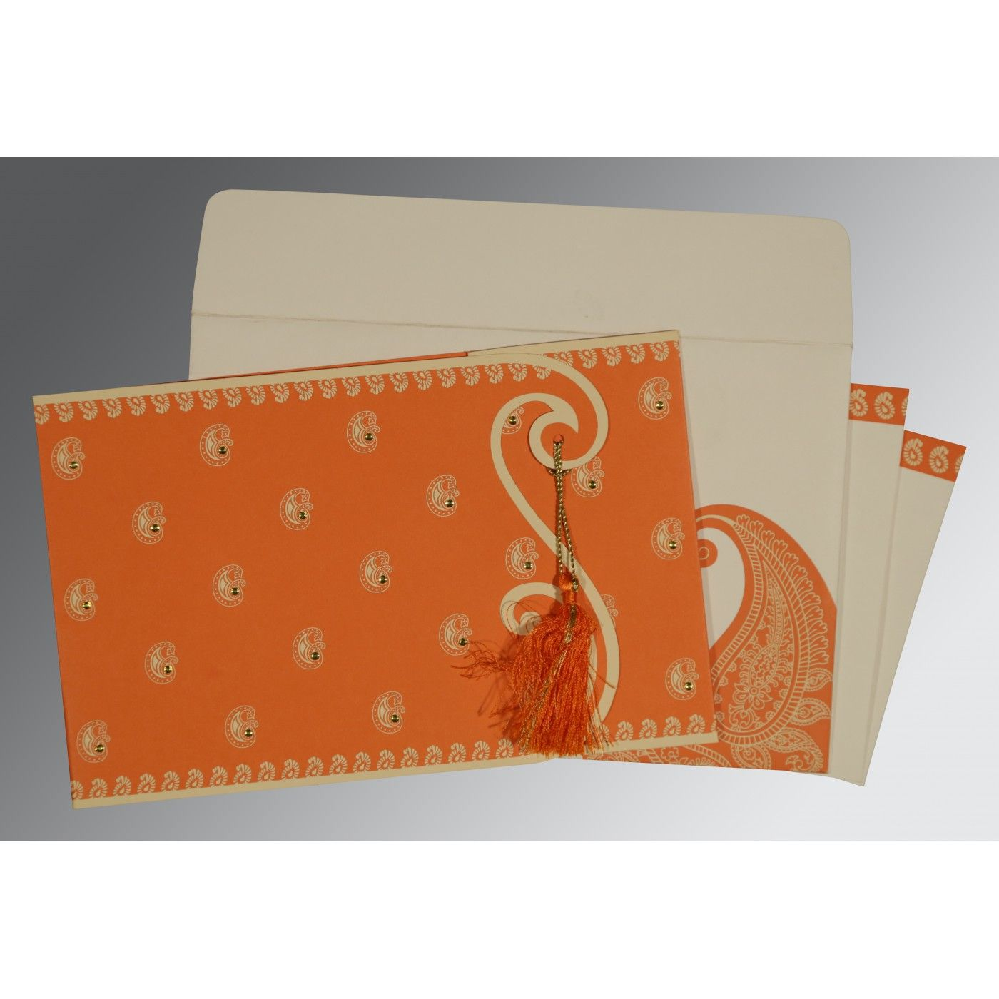 ORANGE MATTE PAISLEY THEMED - SCREEN PRINTED WEDDING INVITATION : CS-8252D - IndianWeddingCards