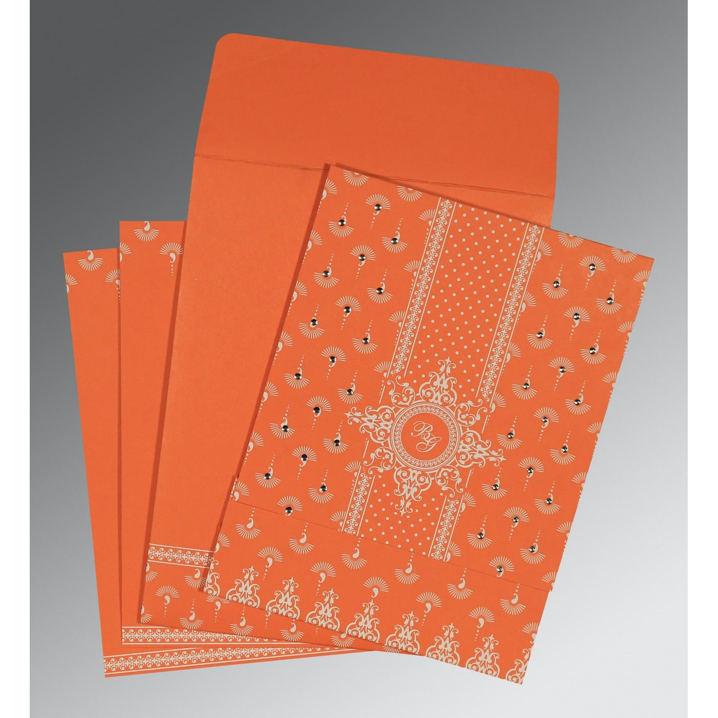 ORANGE MATTE SCREEN PRINTED WEDDING INVITATION : CIN-8247I - IndianWeddingCards