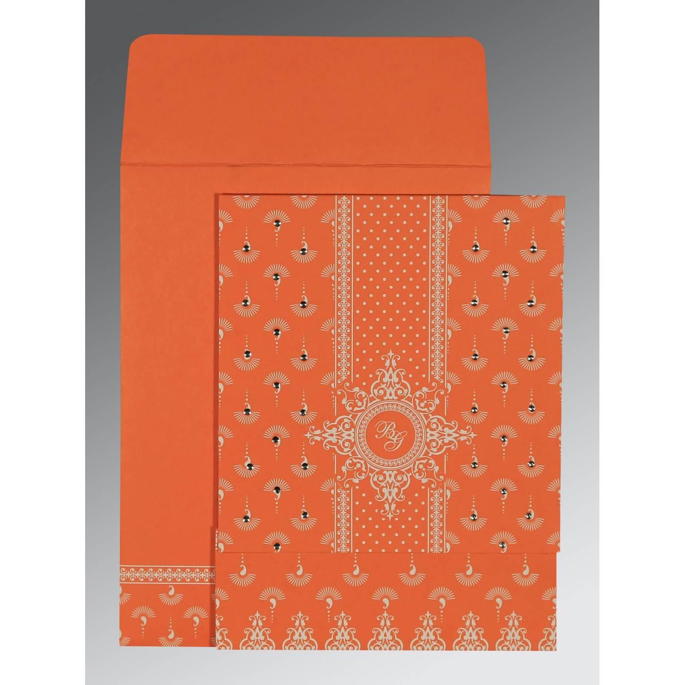 ORANGE MATTE SCREEN PRINTED WEDDING INVITATION : CRU-8247I - IndianWeddingCards