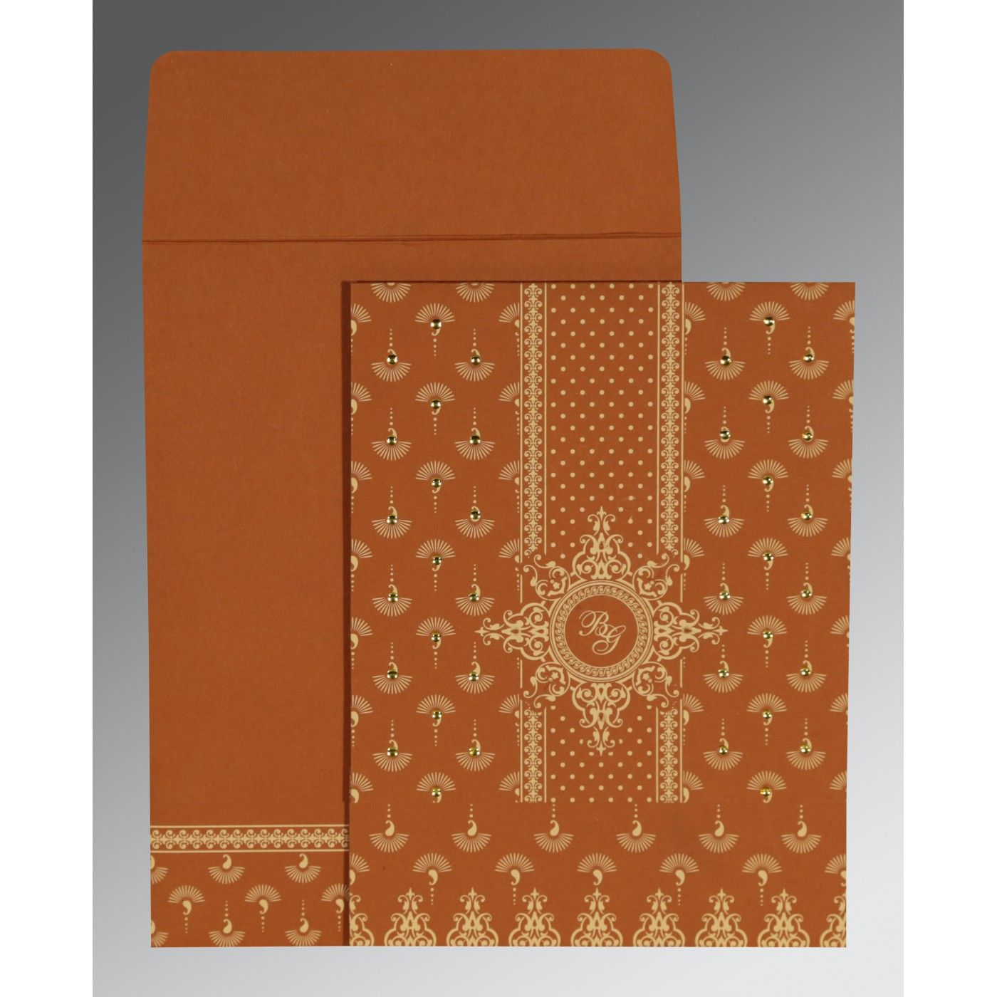 BURNT ORANGE MATTE SCREEN PRINTED WEDDING INVITATION : CSO-8247F - IndianWeddingCards