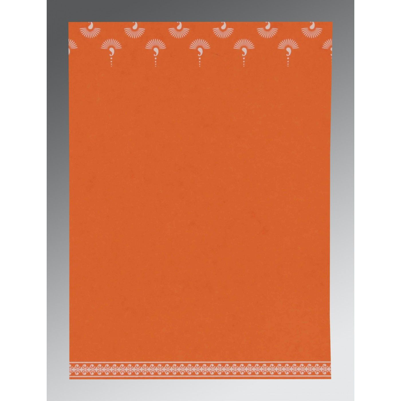 ORANGE MATTE SCREEN PRINTED WEDDING INVITATION : CSO-8247I - IndianWeddingCards