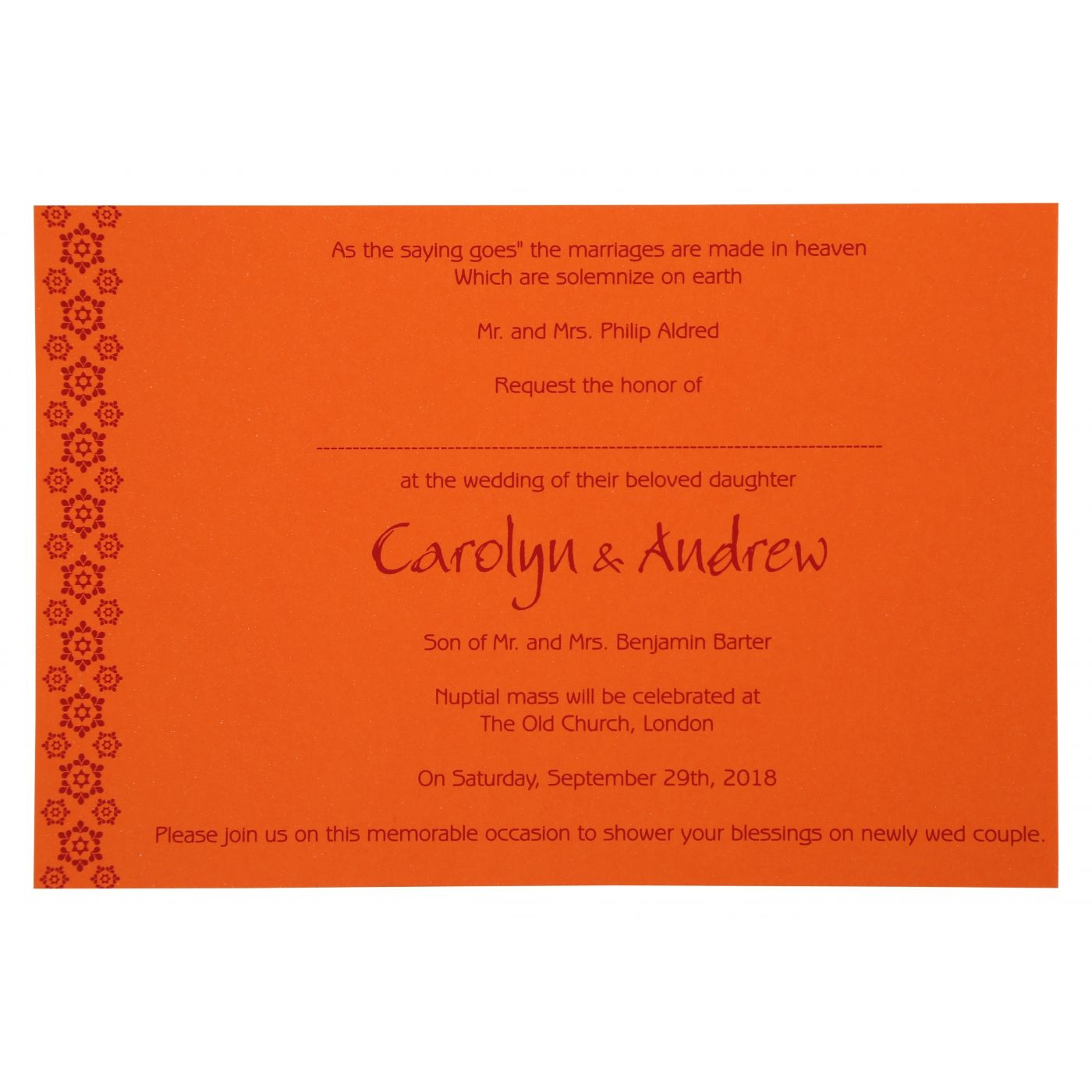 BURNT ORANGE PAISLEY THEMED - SCREEN PRINTED WEDDING INVITATION : CD-801D - IndianWeddingCards