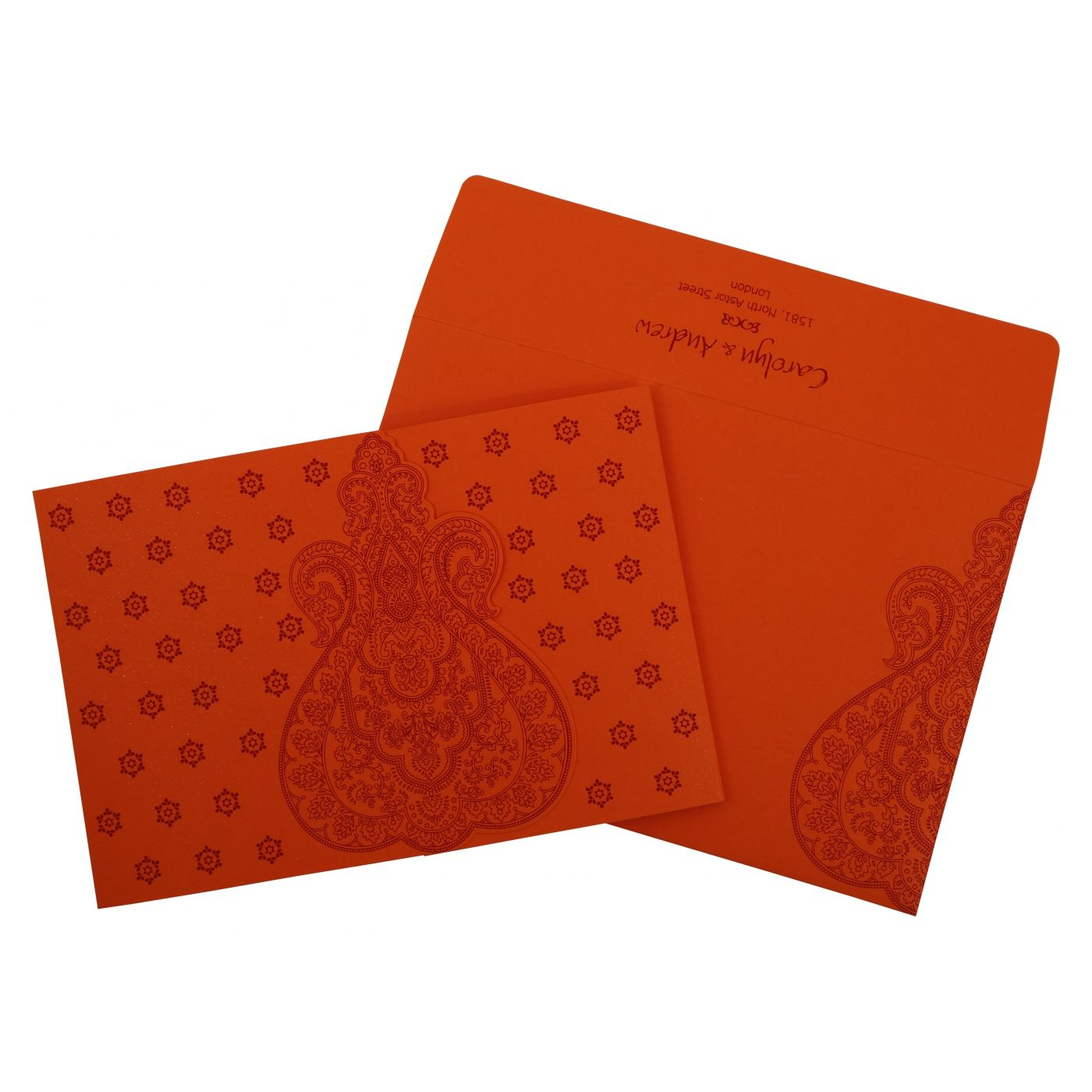BURNT ORANGE PAISLEY THEMED - SCREEN PRINTED WEDDING INVITATION : CI-801D - IndianWeddingCards