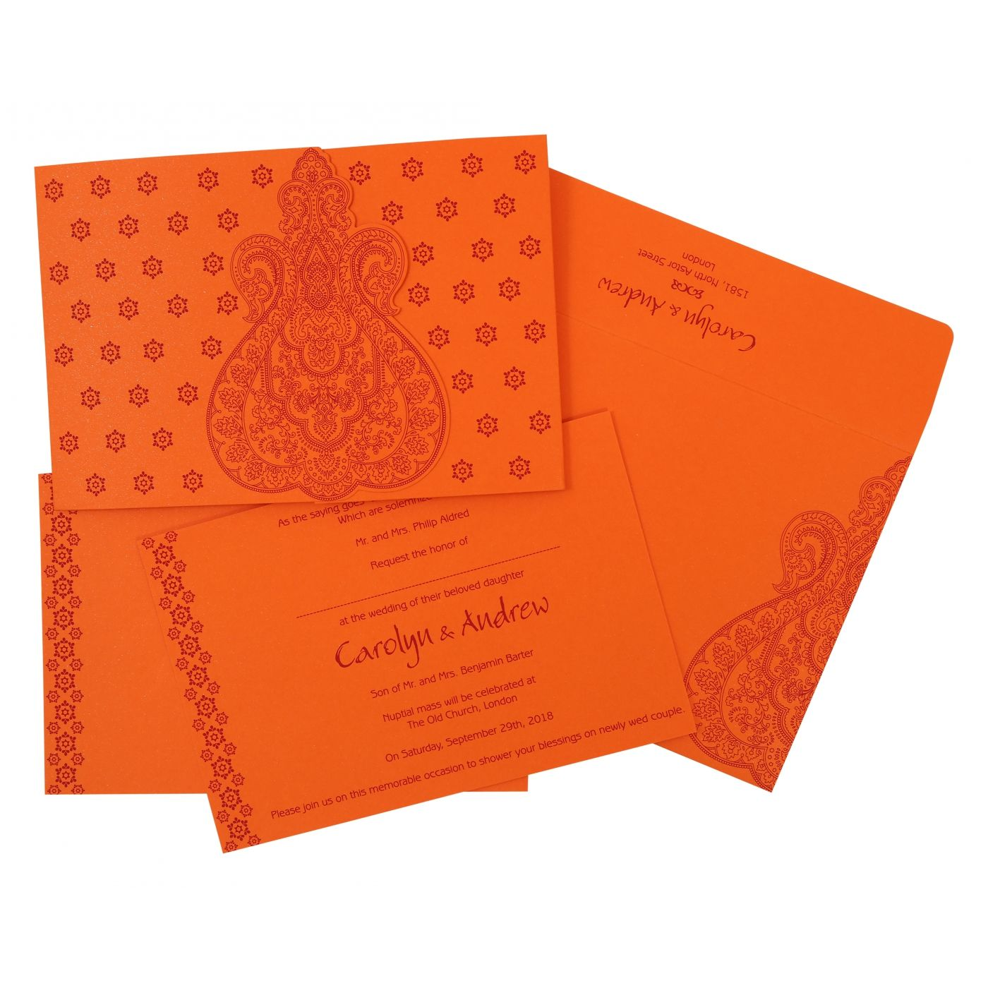 BURNT ORANGE PAISLEY THEMED - SCREEN PRINTED WEDDING INVITATION : CRU-801D - IndianWeddingCards