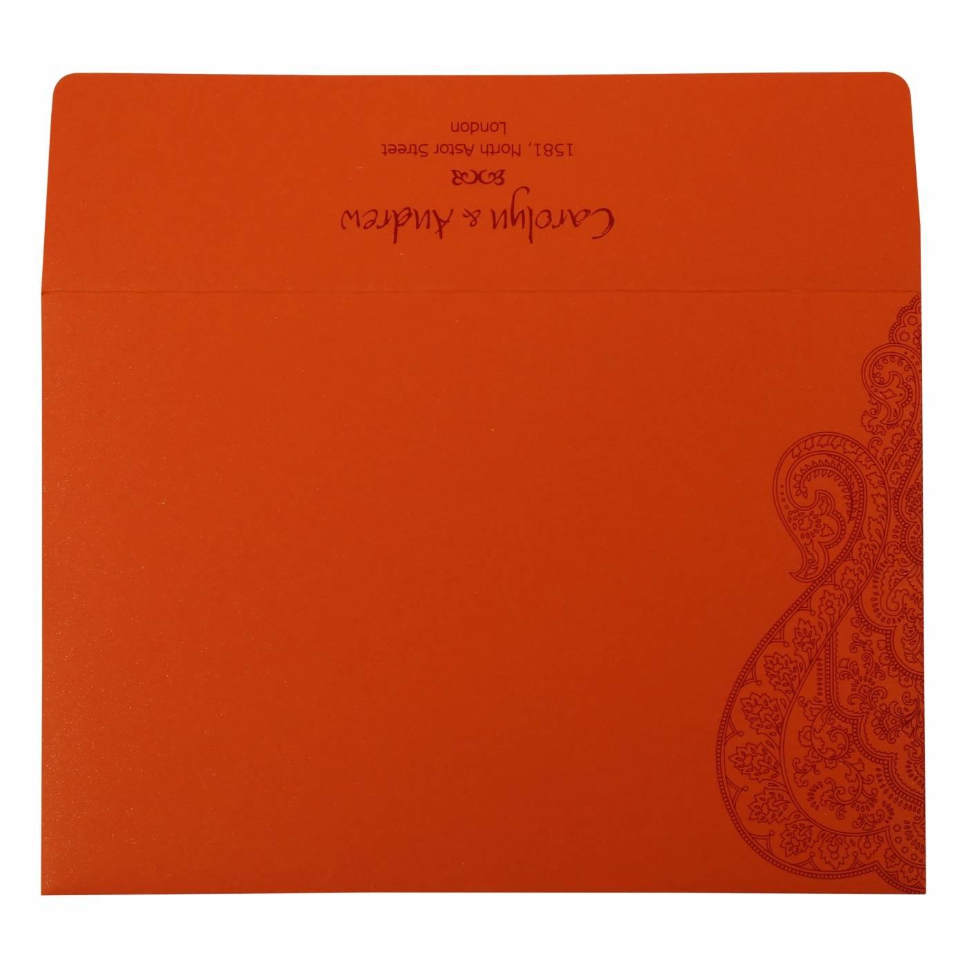 BURNT ORANGE PAISLEY THEMED - SCREEN PRINTED WEDDING INVITATION : CSO-801D - IndianWeddingCards