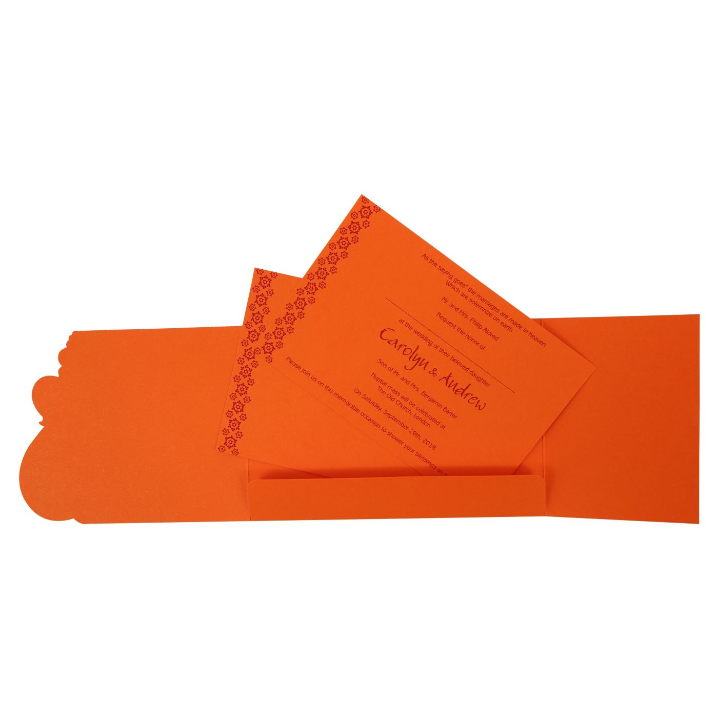BURNT ORANGE PAISLEY THEMED - SCREEN PRINTED WEDDING INVITATION : CW-801D - IndianWeddingCards