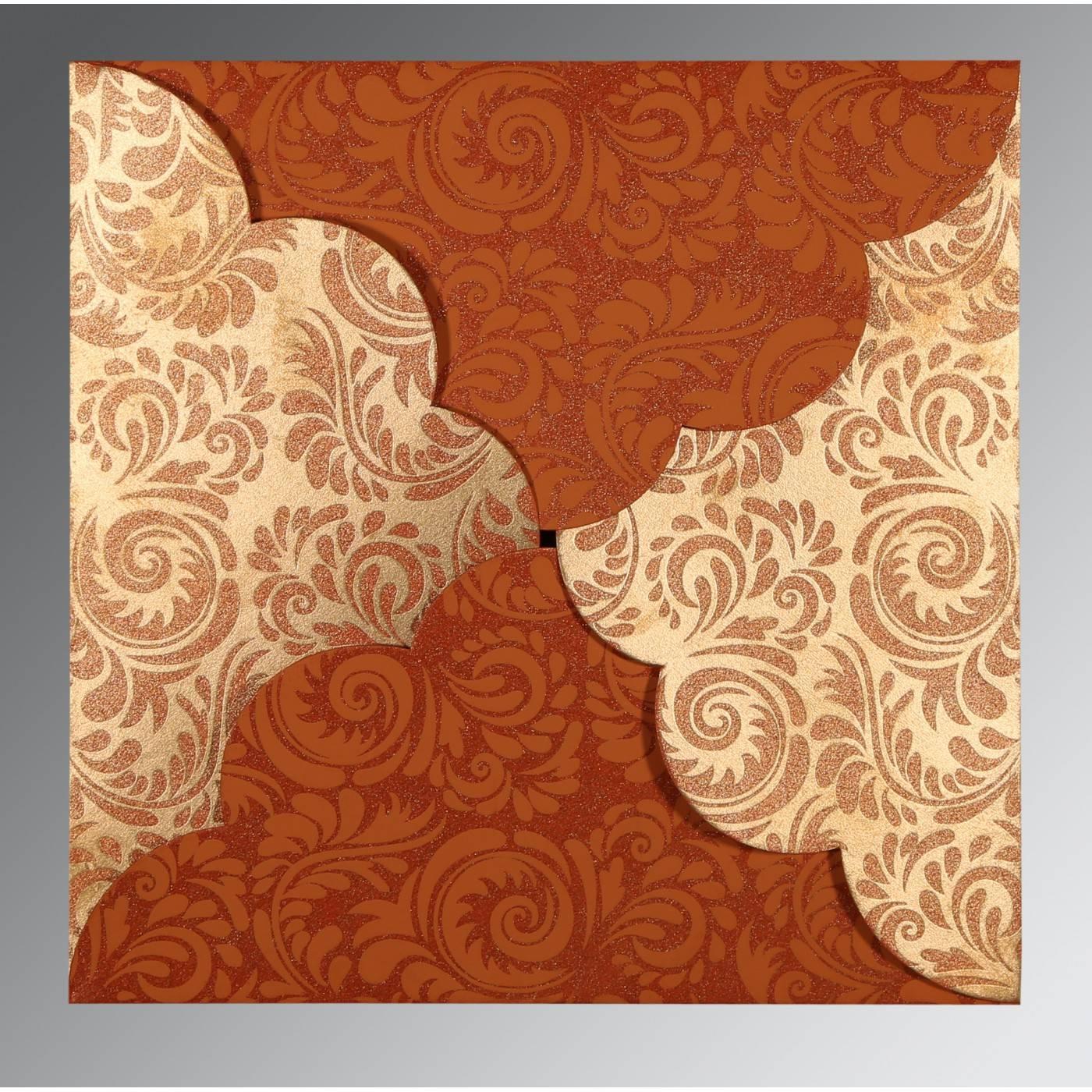 ORANGE SHIMMERY FLORAL THEMED - SCREEN PRINTED WEDDING CARD : CD-8235G - IndianWeddingCards