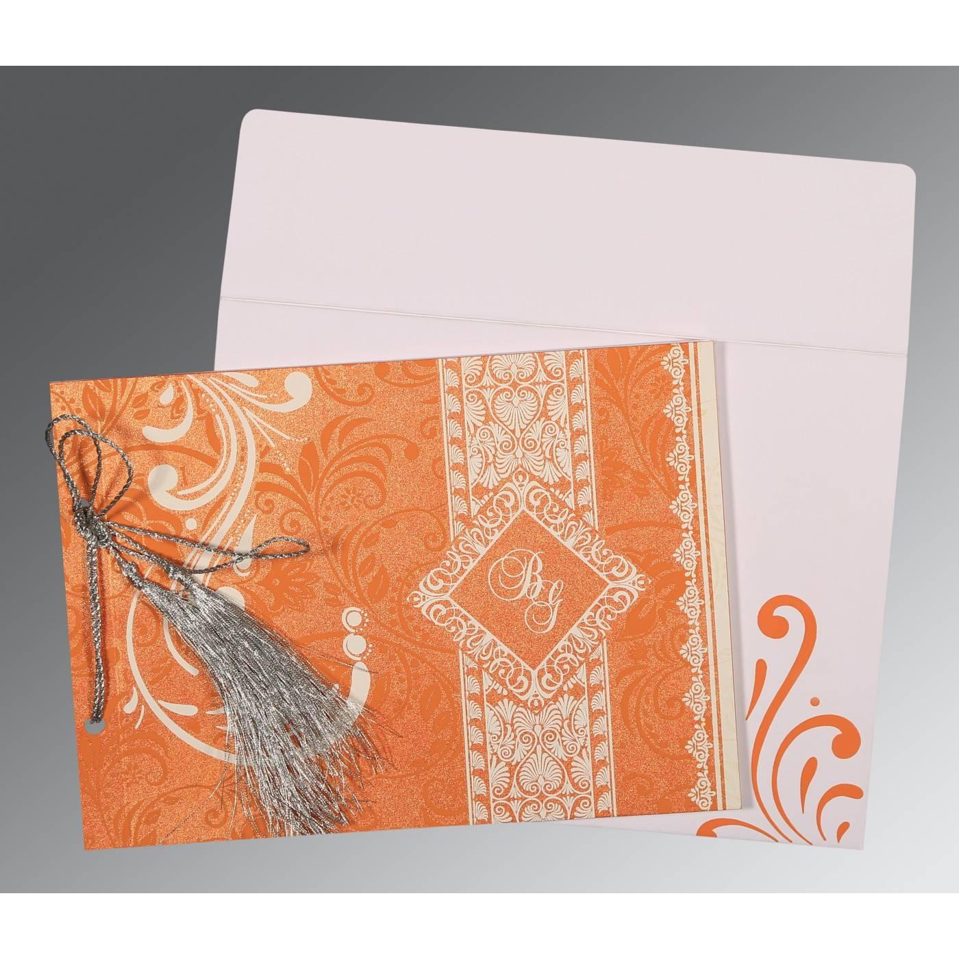 SALMON SHIMMERY SCREEN PRINTED WEDDING CARD : CS-8223K - IndianWeddingCards