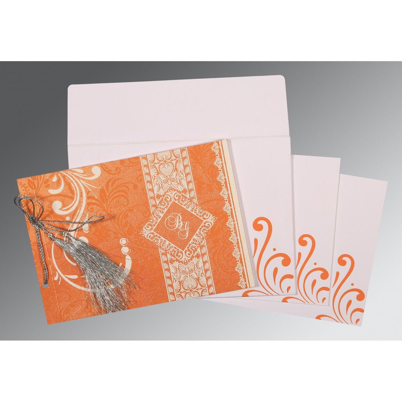 SALMON SHIMMERY SCREEN PRINTED WEDDING CARD : CW-8223K - IndianWeddingCards