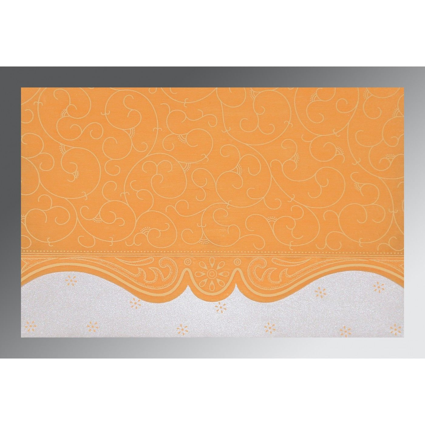 VIVID ORANGE MATTE EMBOSSED WEDDING INVITATION : CD-8221F - IndianWeddingCards
