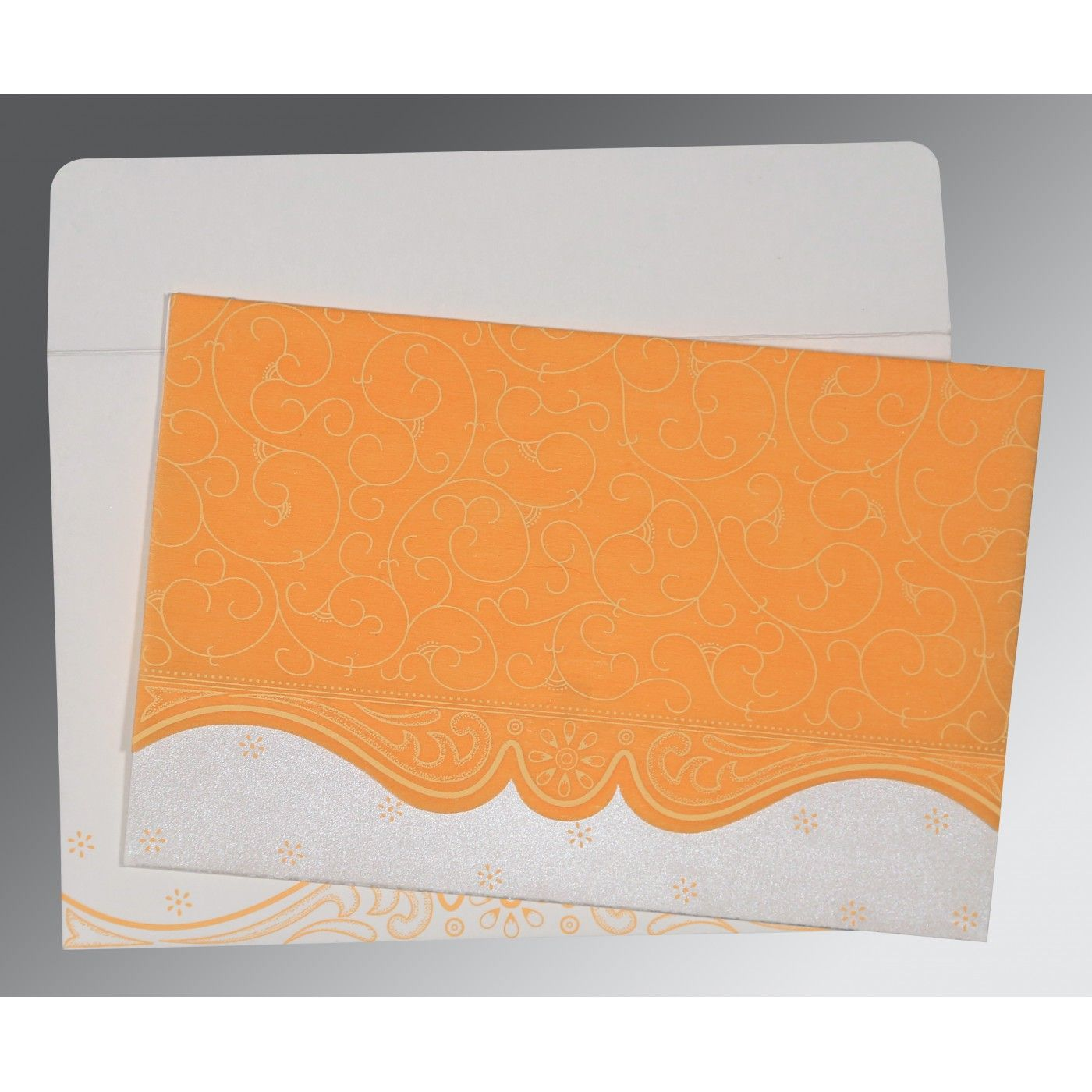 VIVID ORANGE MATTE EMBOSSED WEDDING INVITATION : CG-8221F - IndianWeddingCards