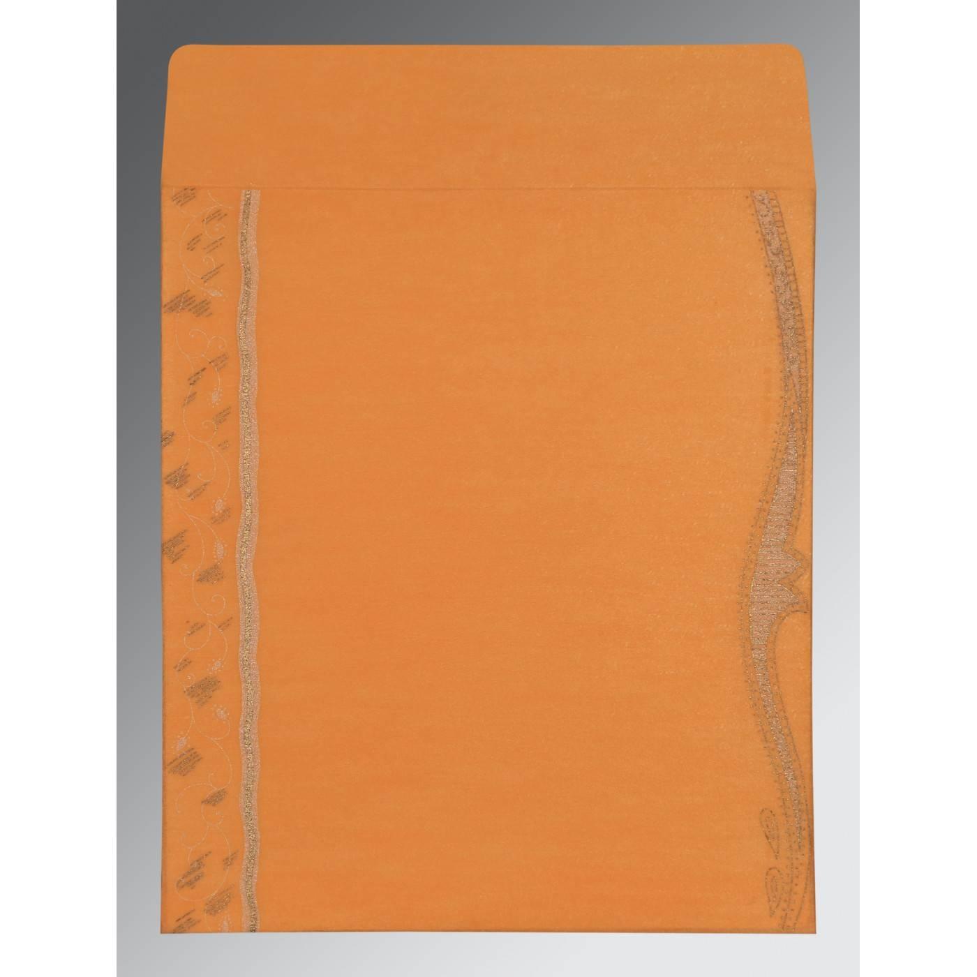 LIGHT ORANGE SHIMMERY EMBOSSED WEDDING CARD : CRU-8210L - IndianWeddingCards