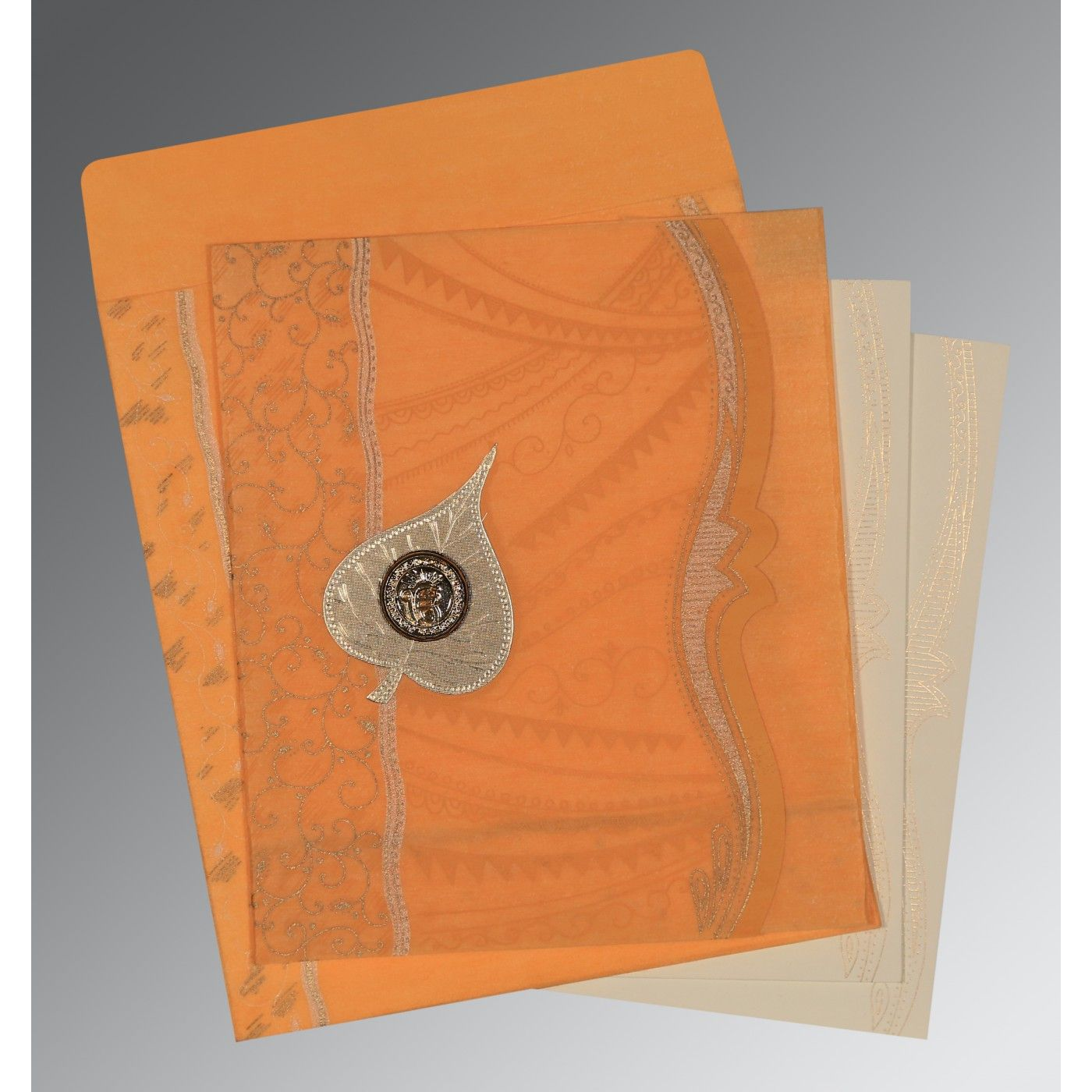 LIGHT ORANGE SHIMMERY EMBOSSED WEDDING CARD : CS-8210L - IndianWeddingCards