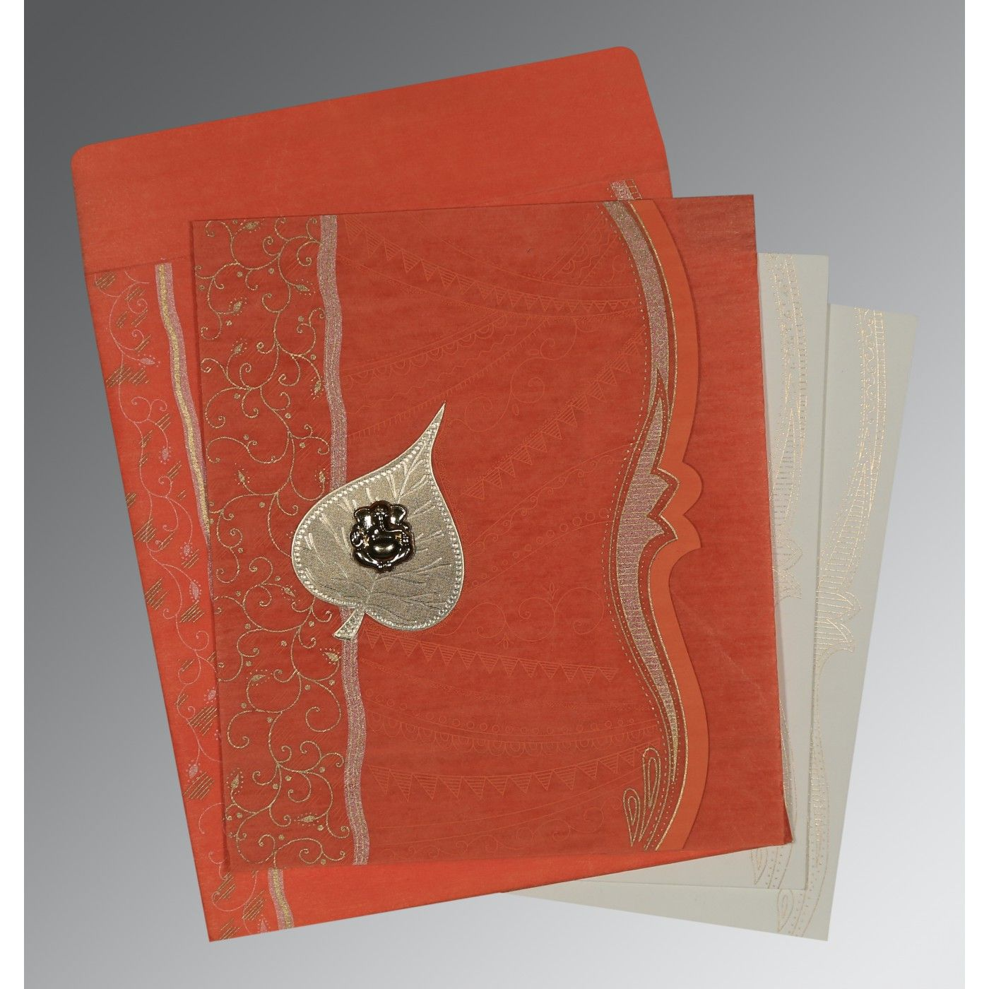 CORAL SHIMMERY EMBOSSED WEDDING CARD : CW-8210F - IndianWeddingCards