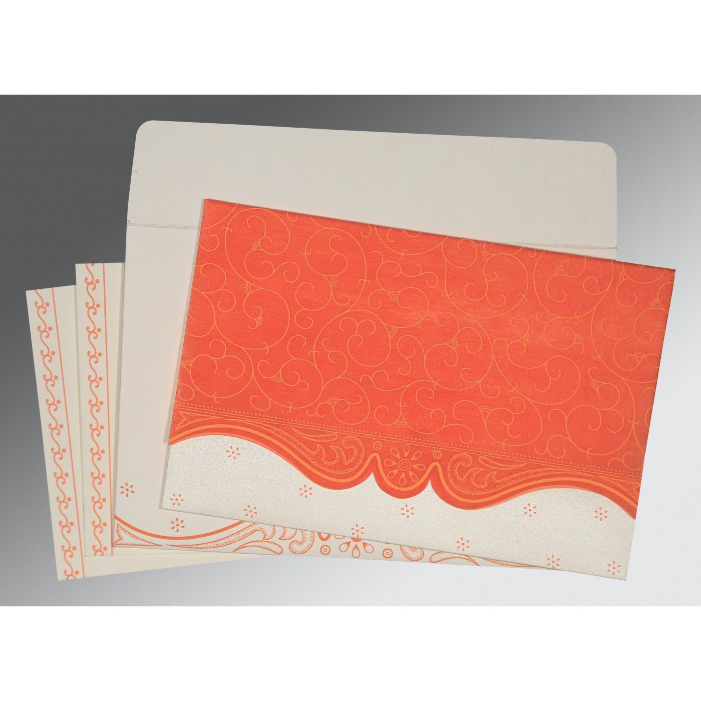 SALMON MATTE EMBOSSED WEDDING INVITATION : CW-8221L - IndianWeddingCards
