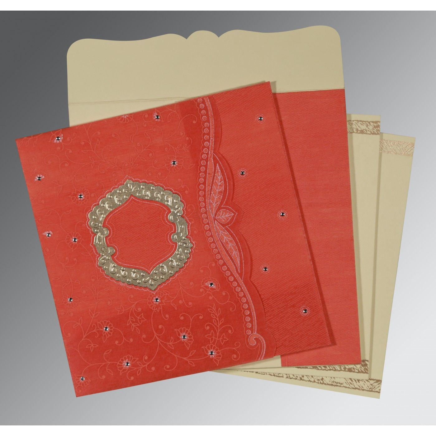 SWEET NECTAR SHIMMERY FLORAL THEMED - EMBOSSED WEDDING CARD : CD-8209M - IndianWeddingCards