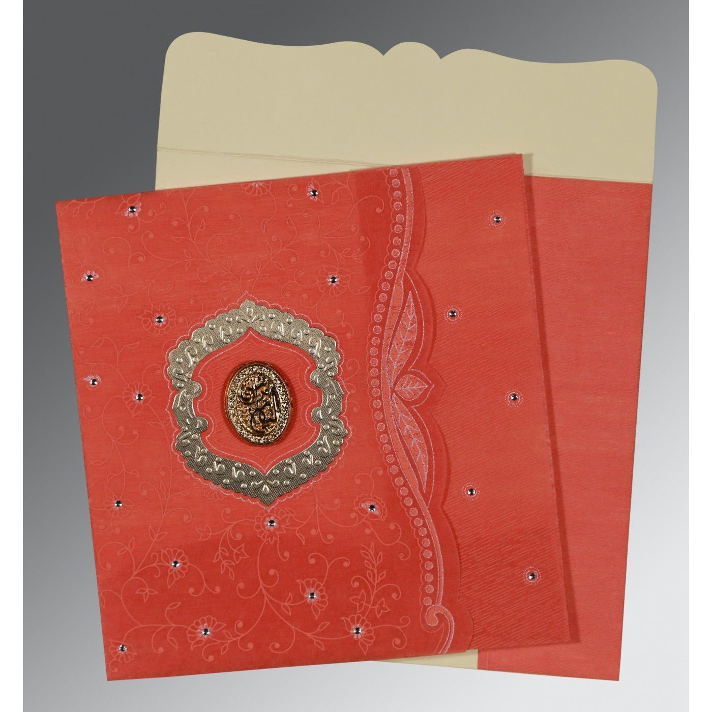 SWEET NECTAR SHIMMERY FLORAL THEMED - EMBOSSED WEDDING CARD : CI-8209M - IndianWeddingCards