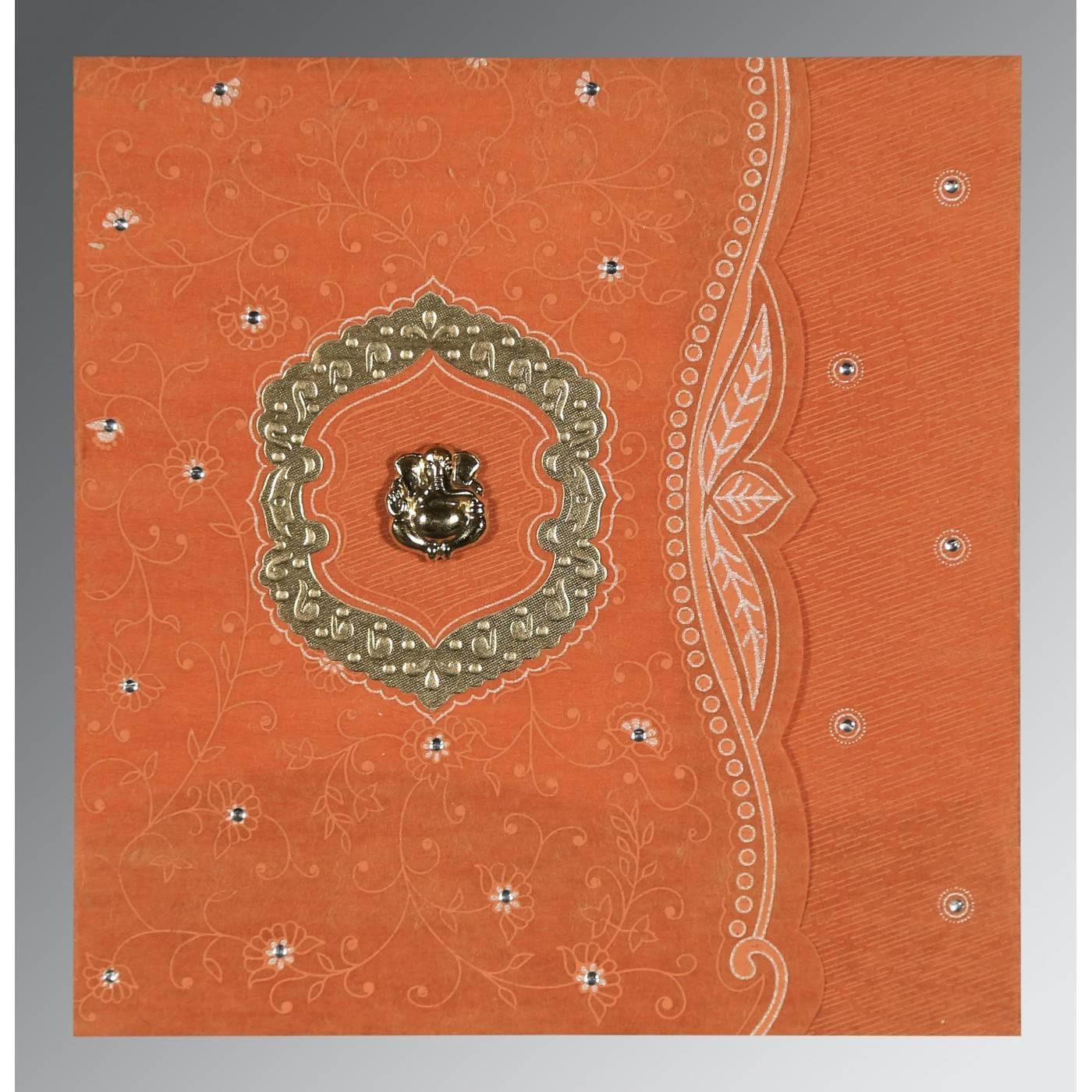 BURNT ORANGE SHIMMERY FLORAL THEMED - EMBOSSED WEDDING CARD : CIN-8209D - IndianWeddingCards