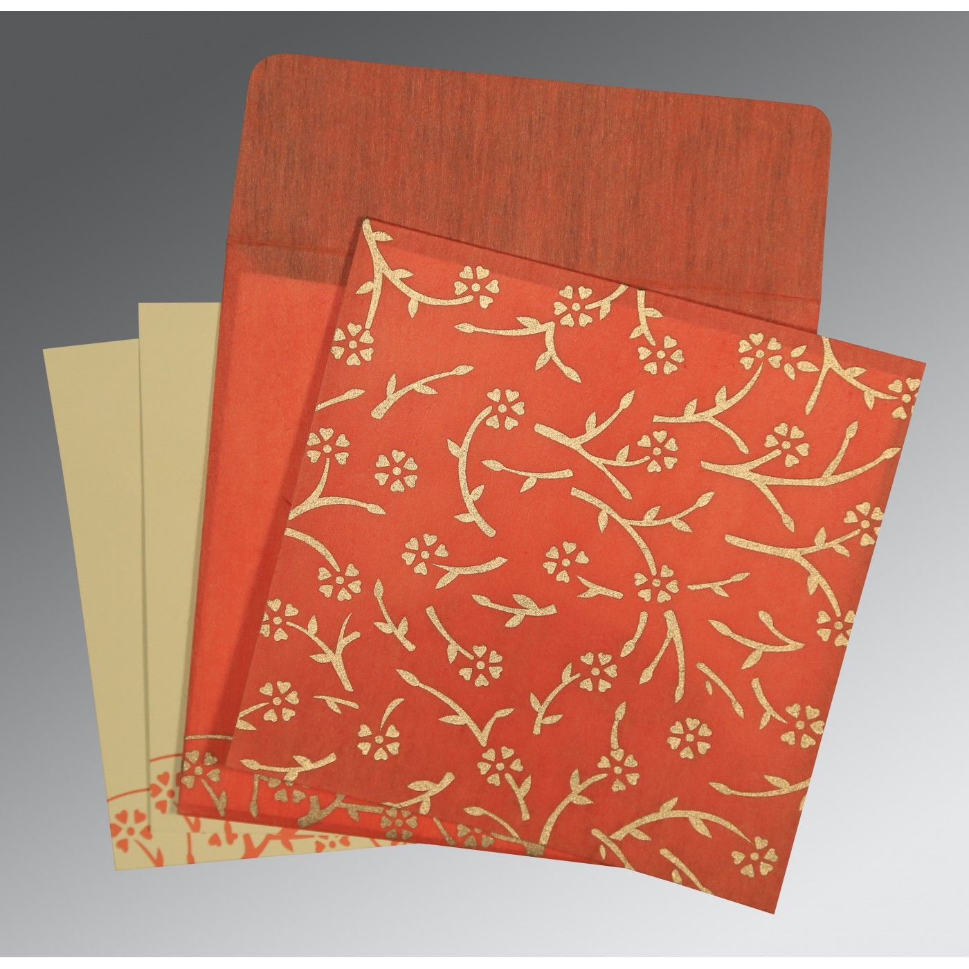 AUTUMN ORANGE WOOLY FLORAL THEMED - SCREEN PRINTED WEDDING INVITATION : CD-8216G - IndianWeddingCards