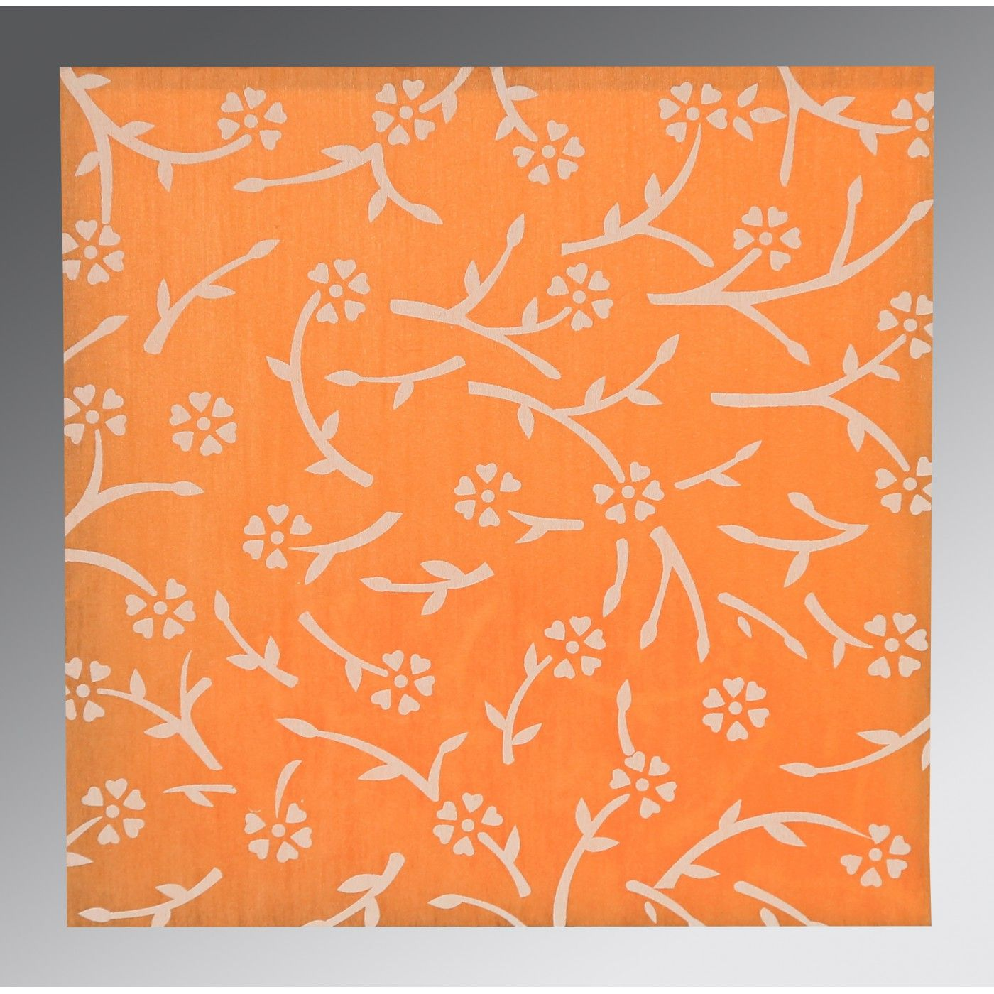 LIGHT ORANGE WOOLY FLORAL THEMED - SCREEN PRINTED WEDDING INVITATION : CG-8216O - IndianWeddingCards