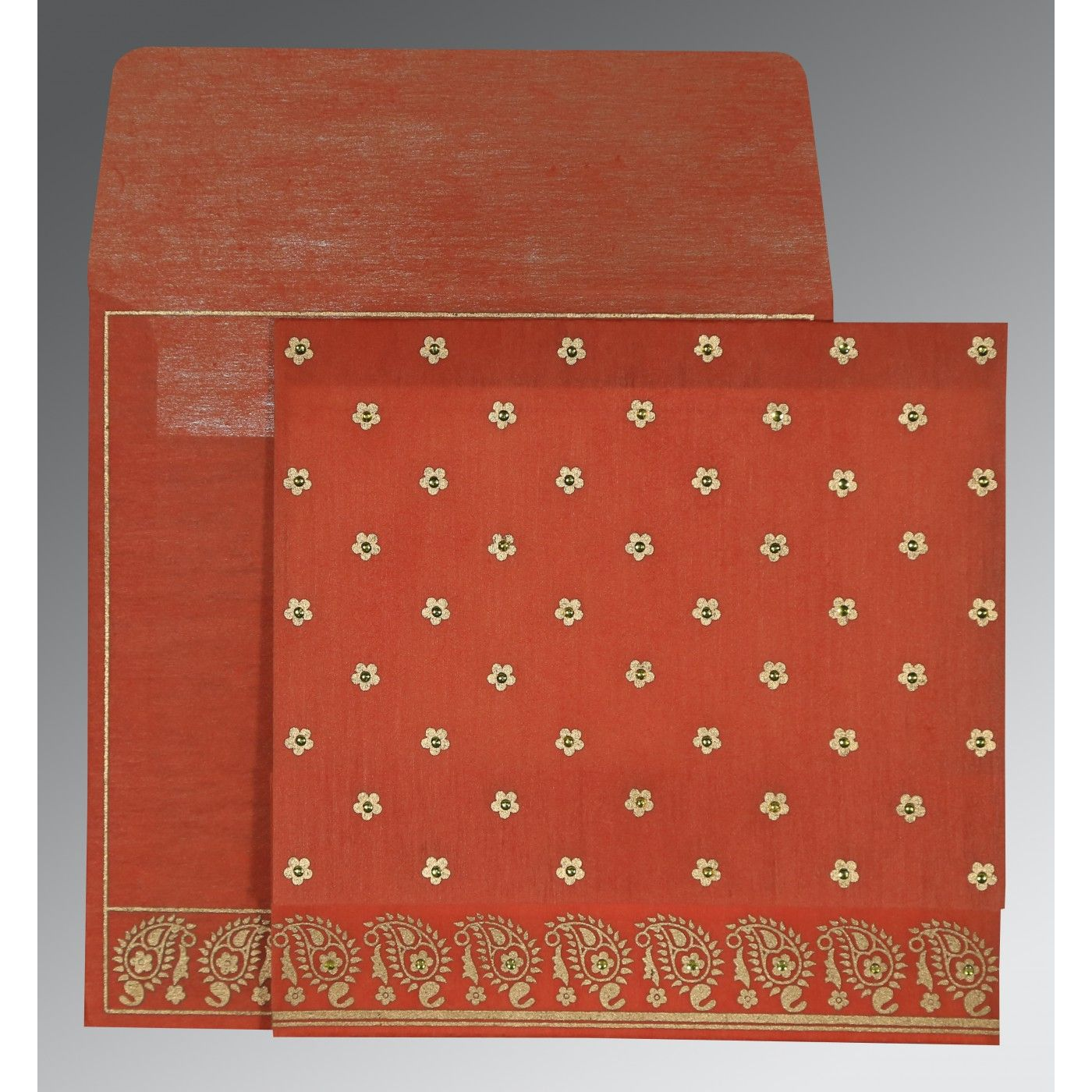 CORAL WOOLY FLORAL THEMED - SCREEN PRINTED WEDDING CARD : CG-8218E - IndianWeddingCards