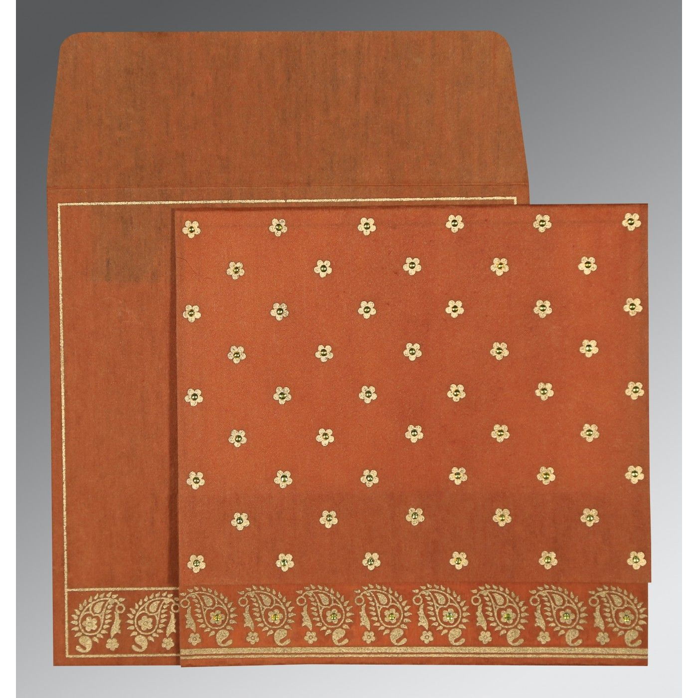 BURNT ORANGE WOOLY FLORAL THEMED - SCREEN PRINTED WEDDING CARD : CI-8218C - IndianWeddingCards