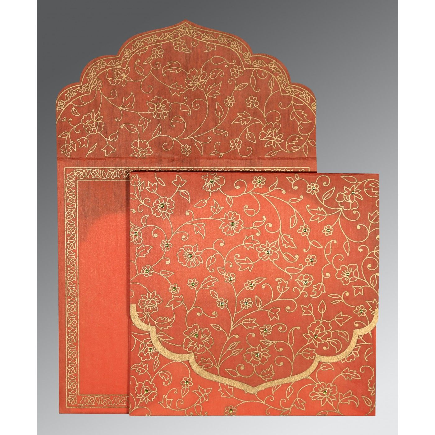 CORAL WOOLY FLORAL THEMED - SCREEN PRINTED WEDDING INVITATION : CRU-8211F - IndianWeddingCards