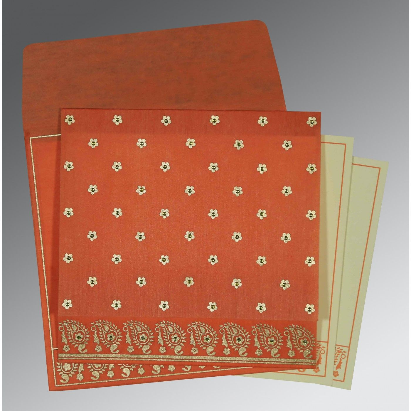 CORAL WOOLY FLORAL THEMED - SCREEN PRINTED WEDDING CARD : CRU-8218E - IndianWeddingCards