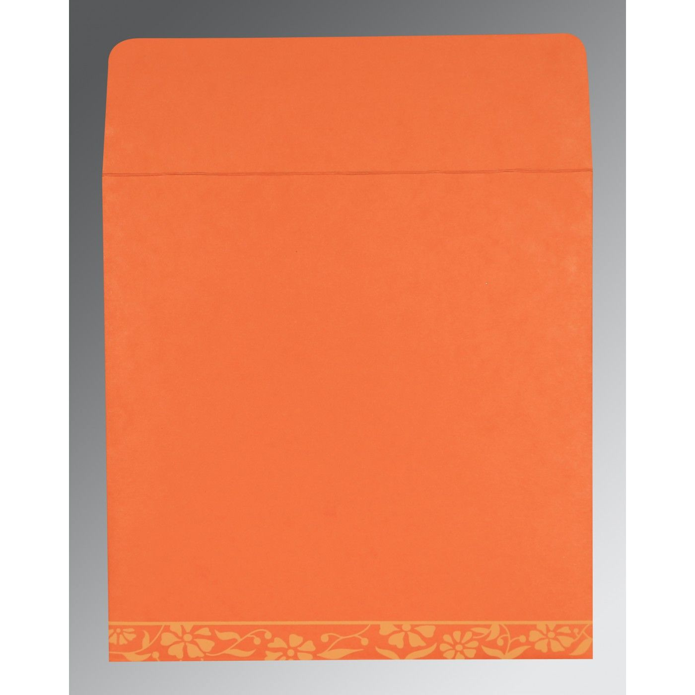 ORANGE MATTE FLORAL THEMED - SCREEN PRINTED WEDDING CARD : CS-8222L - IndianWeddingCards
