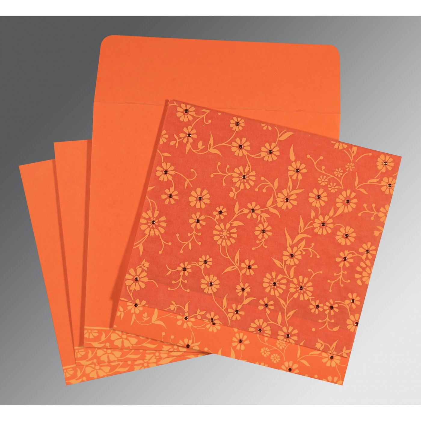 ORANGE MATTE FLORAL THEMED - SCREEN PRINTED WEDDING CARD : CSO-8222L - IndianWeddingCards