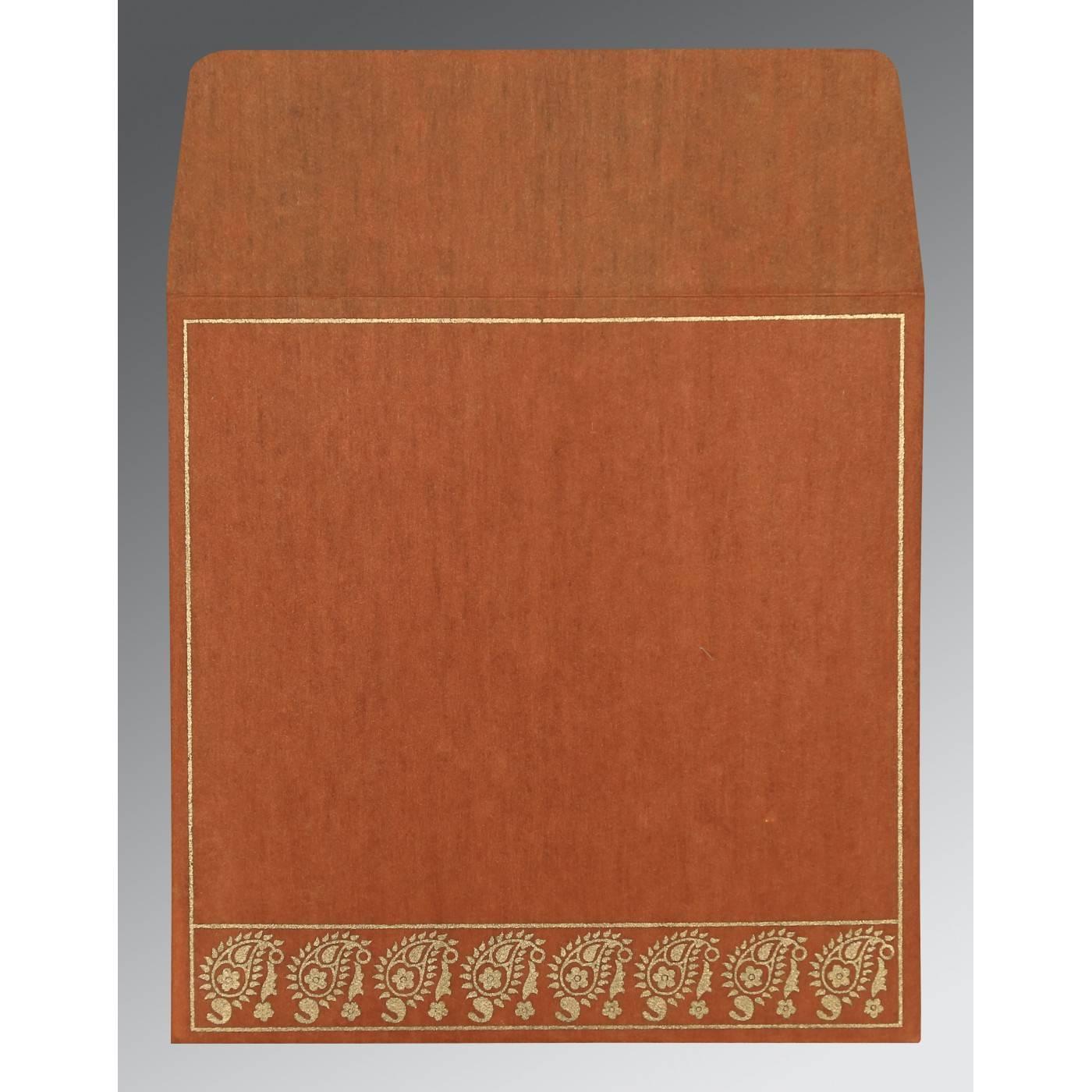 BURNT ORANGE WOOLY FLORAL THEMED - SCREEN PRINTED WEDDING CARD : CW-8218C - IndianWeddingCards