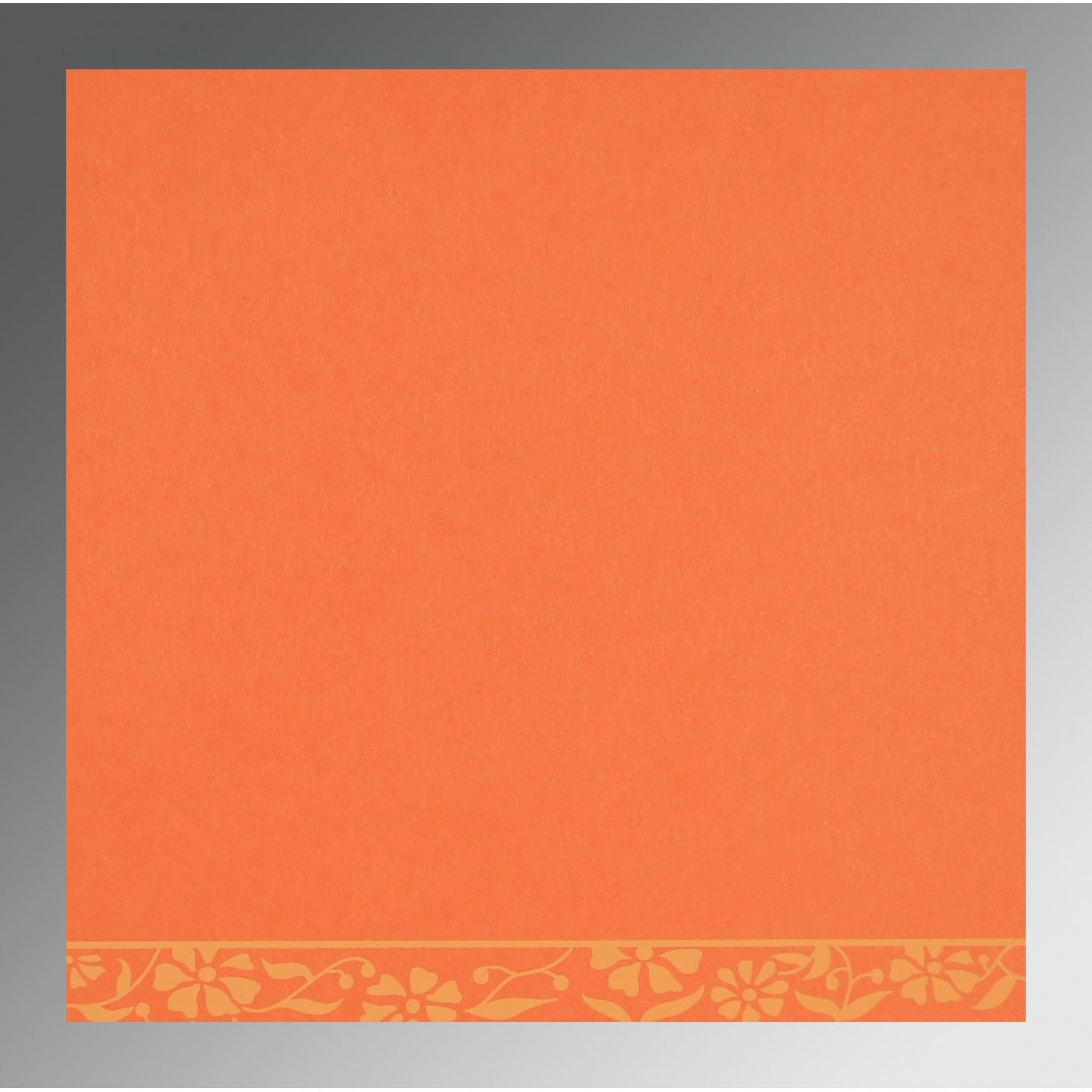 ORANGE MATTE FLORAL THEMED - SCREEN PRINTED WEDDING CARD : CW-8222L - IndianWeddingCards