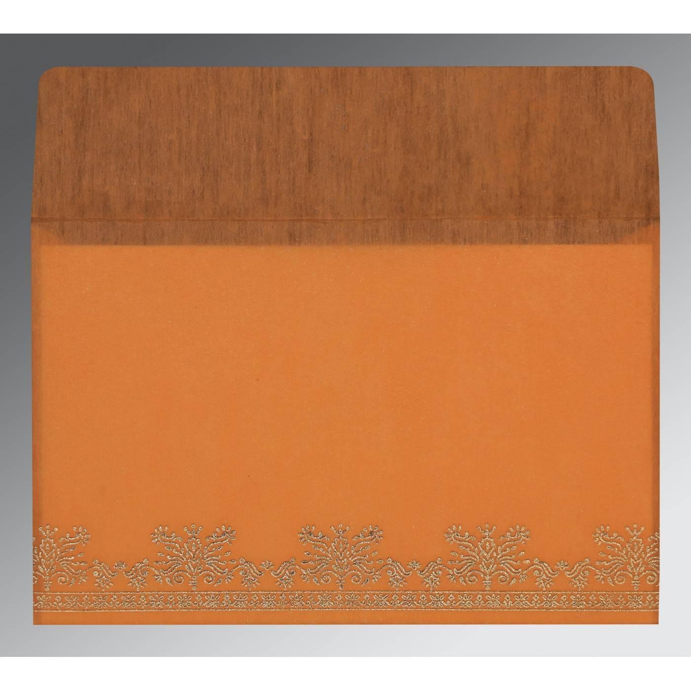 ORANGE WOOLY FOIL STAMPED WEDDING INVITATION : CD-8241H - IndianWeddingCards
