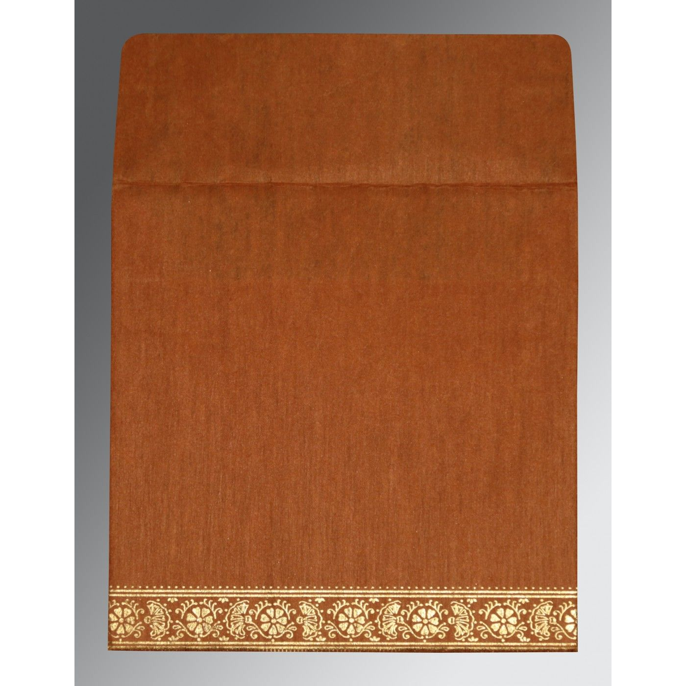BURNT ORANGE WOOLY FOIL STAMPED WEDDING CARD : CD-8242E - IndianWeddingCards