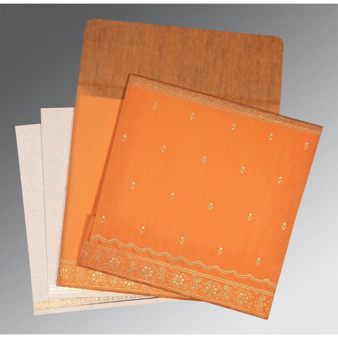 AUTUMN ORANGE WOOLY FOIL STAMPED WEDDING CARD : CD-8242Q - IndianWeddingCards