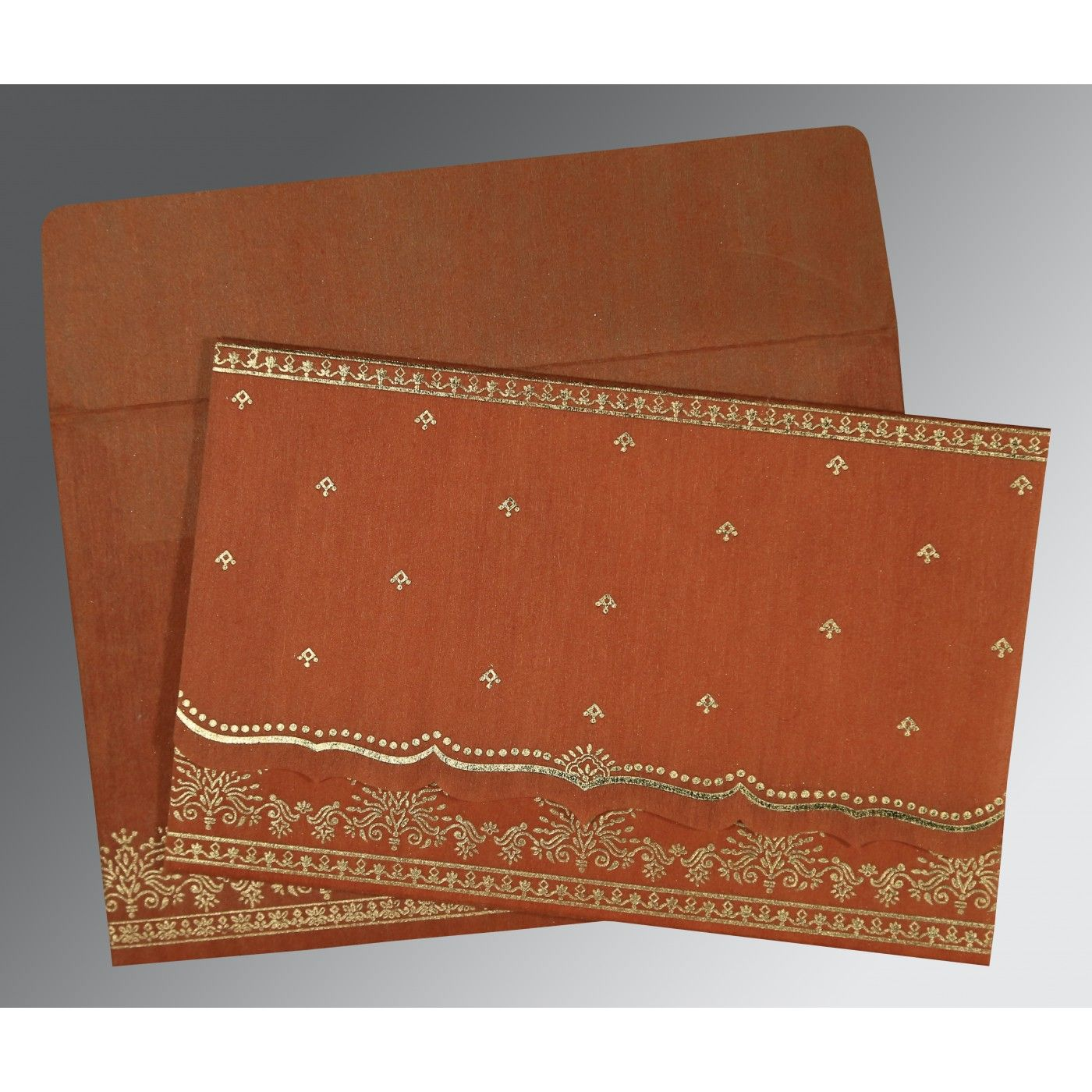 BURNT ORANGE WOOLY FOIL STAMPED WEDDING INVITATION : CS-8241M - IndianWeddingCards