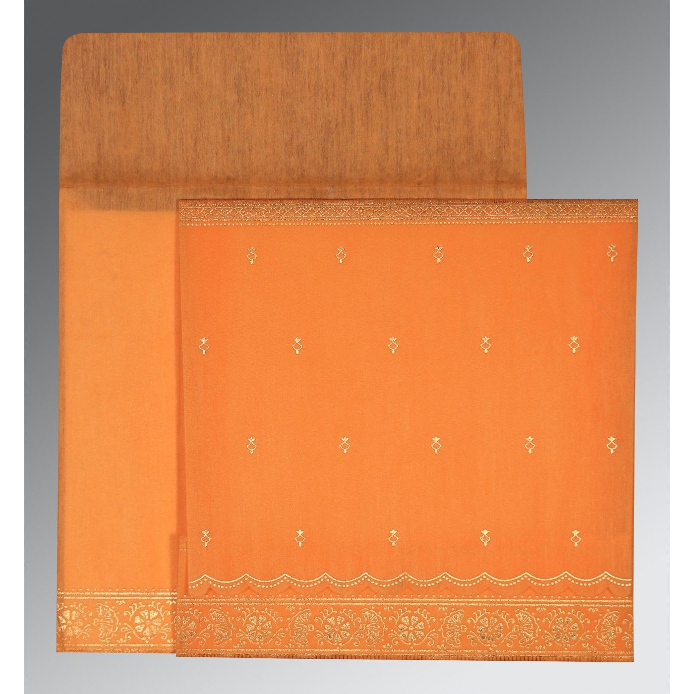 AUTUMN ORANGE WOOLY FOIL STAMPED WEDDING CARD : CS-8242Q - IndianWeddingCards