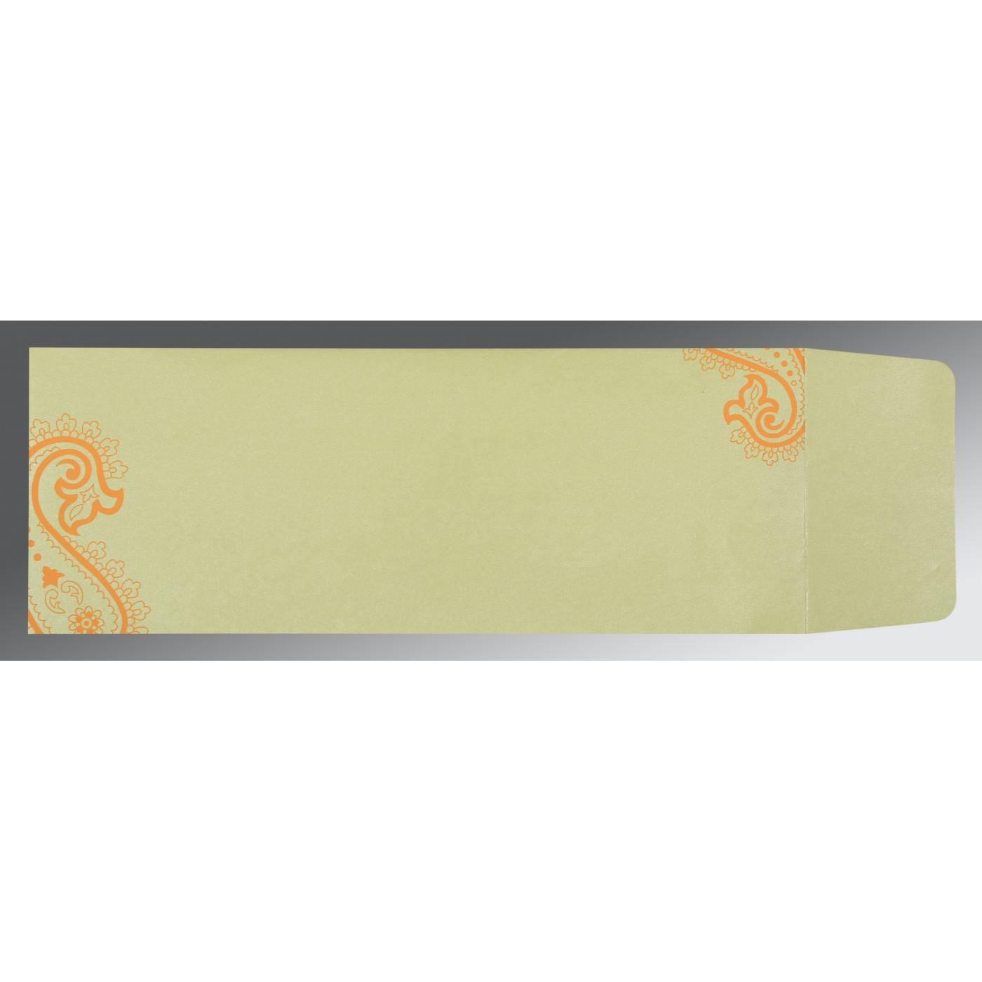 LIGHT ORANGE WOOLY FOIL STAMPED WEDDING CARD : CSC-5015J - IndianWeddingCards